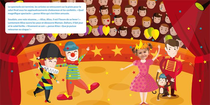 livre personnalisé au cirque pour fille